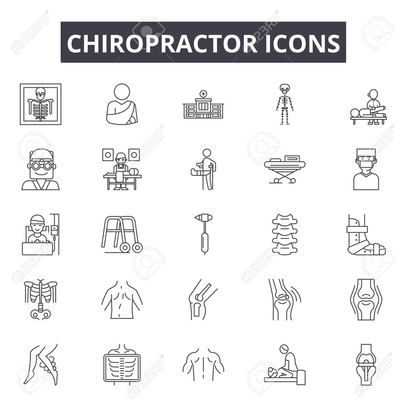 Chiropractor line icons for web and mobile. Editable stroke signs. Chiropractor outline concept illustrations - 119391312