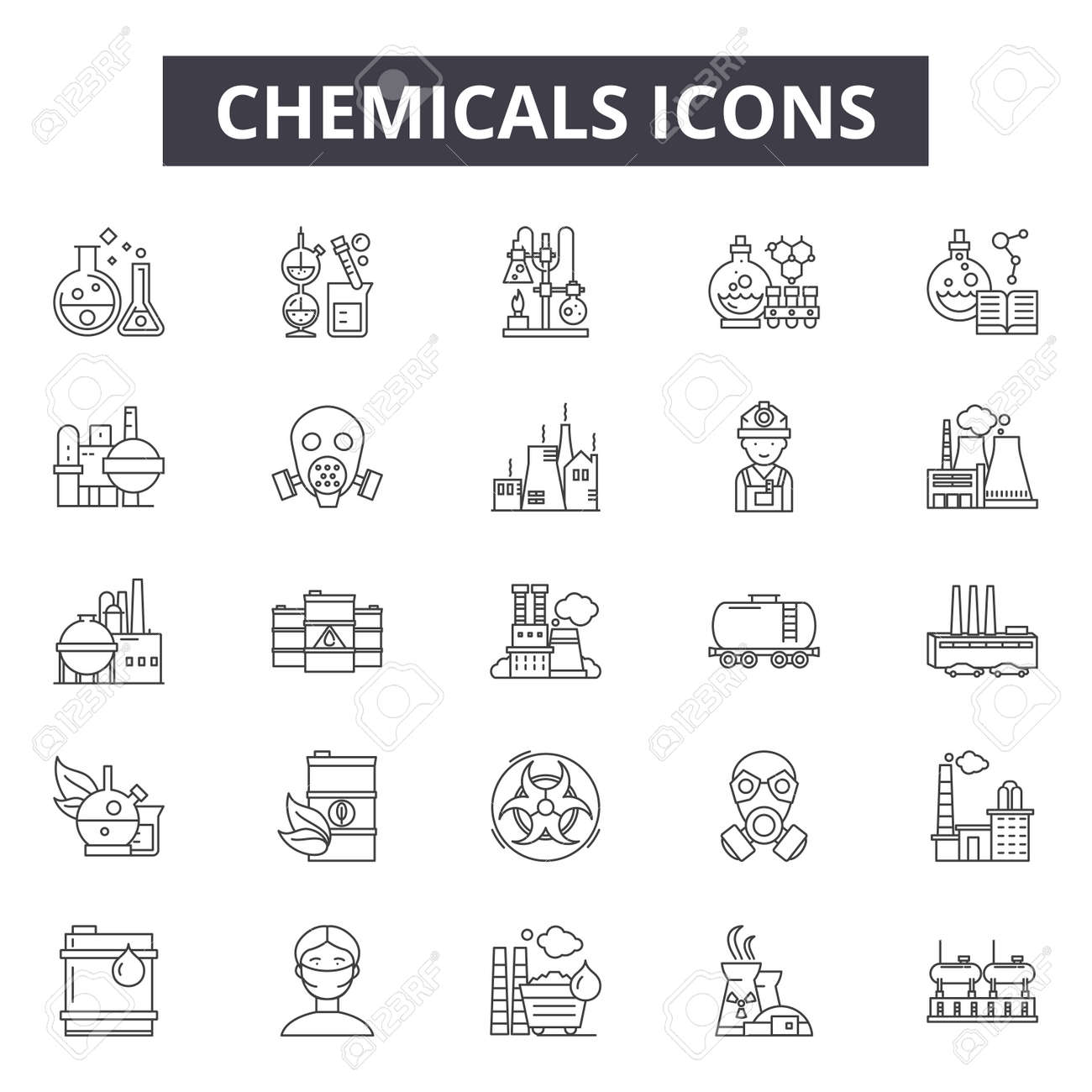 Chemicals line icons for web and mobile. Editable stroke signs. Chemicals outline concept illustrations - 119391061
