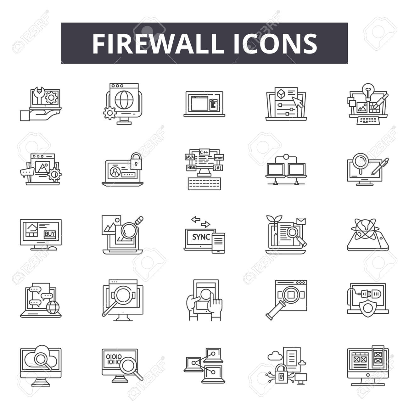 Firewall line icons for web and mobile. Editable stroke signs. Firewall outline concept illustrations - 119390211