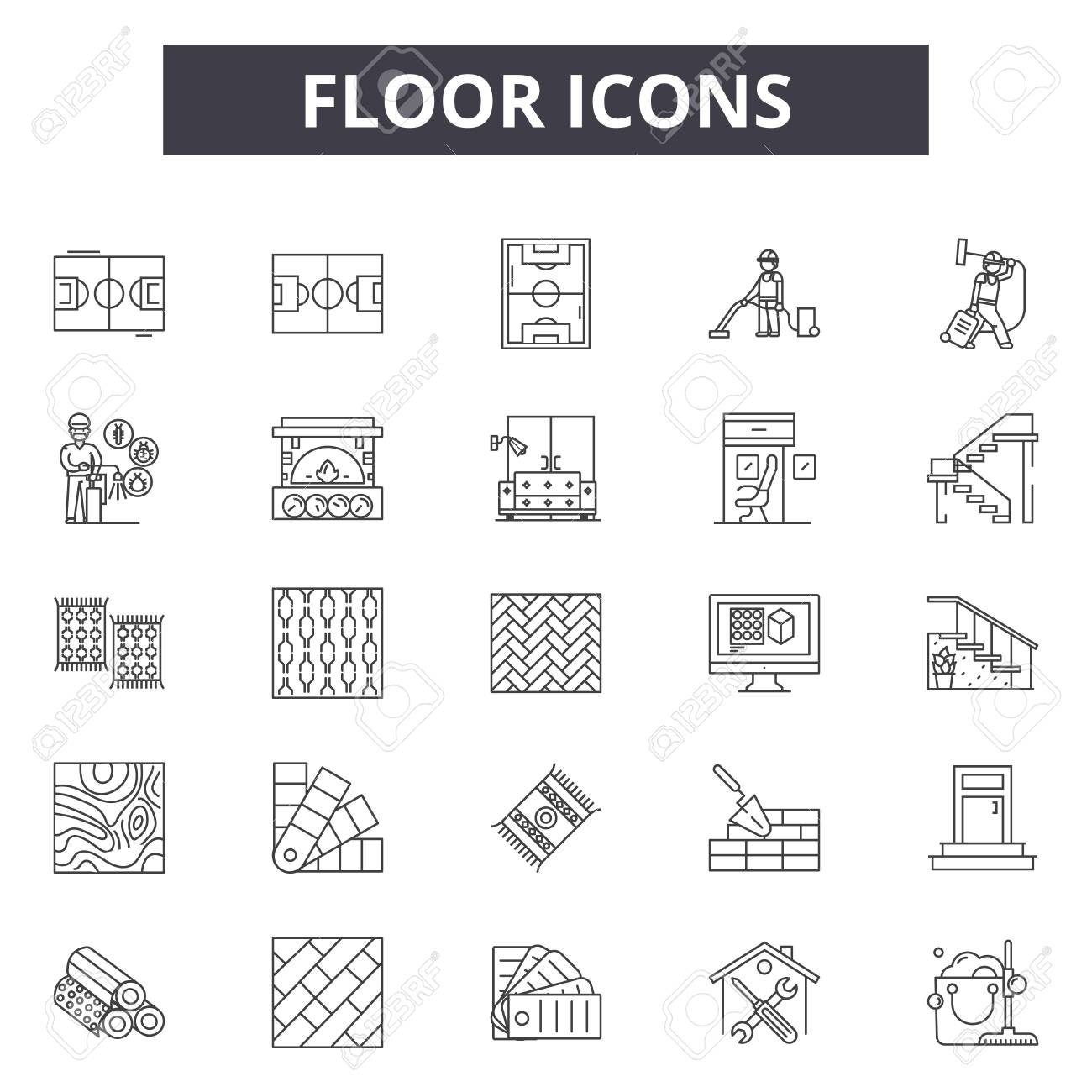 Floor icons line icons for web and mobile. Editable stroke signs. Floor icons outline concept illustrations - 119389065