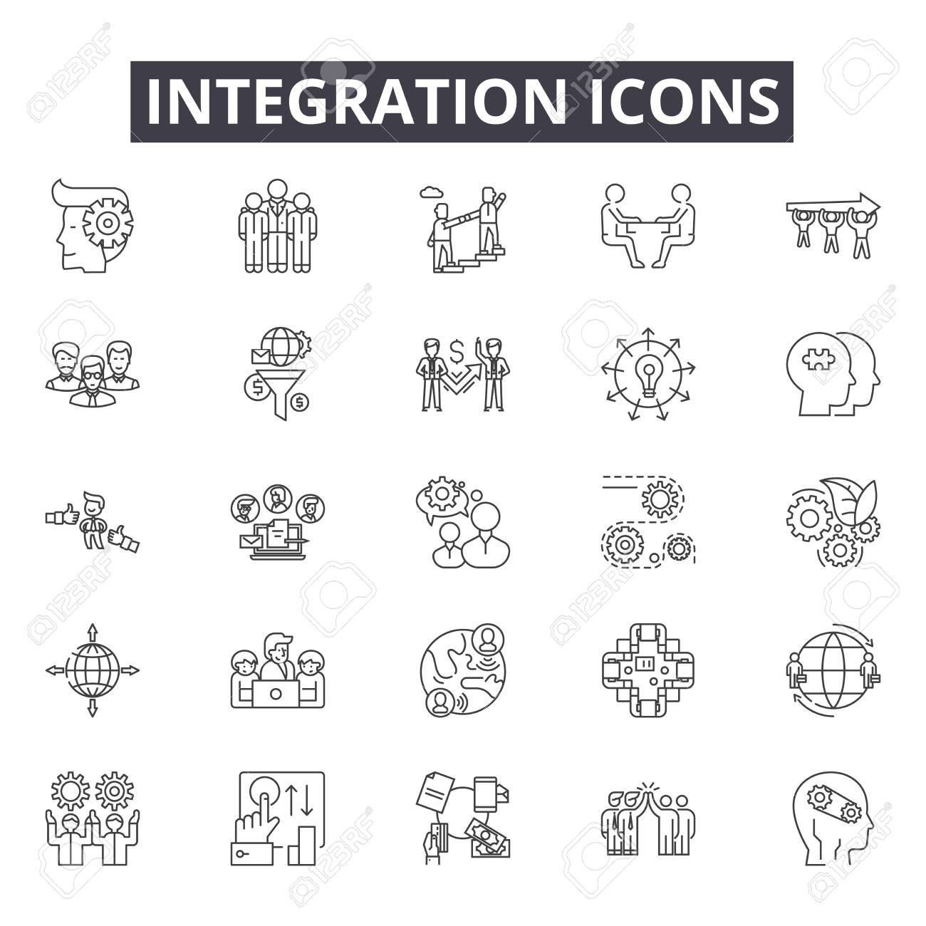 Integration line icons for web and mobile. Editable stroke signs. Integration outline concept illustrations - 119235756