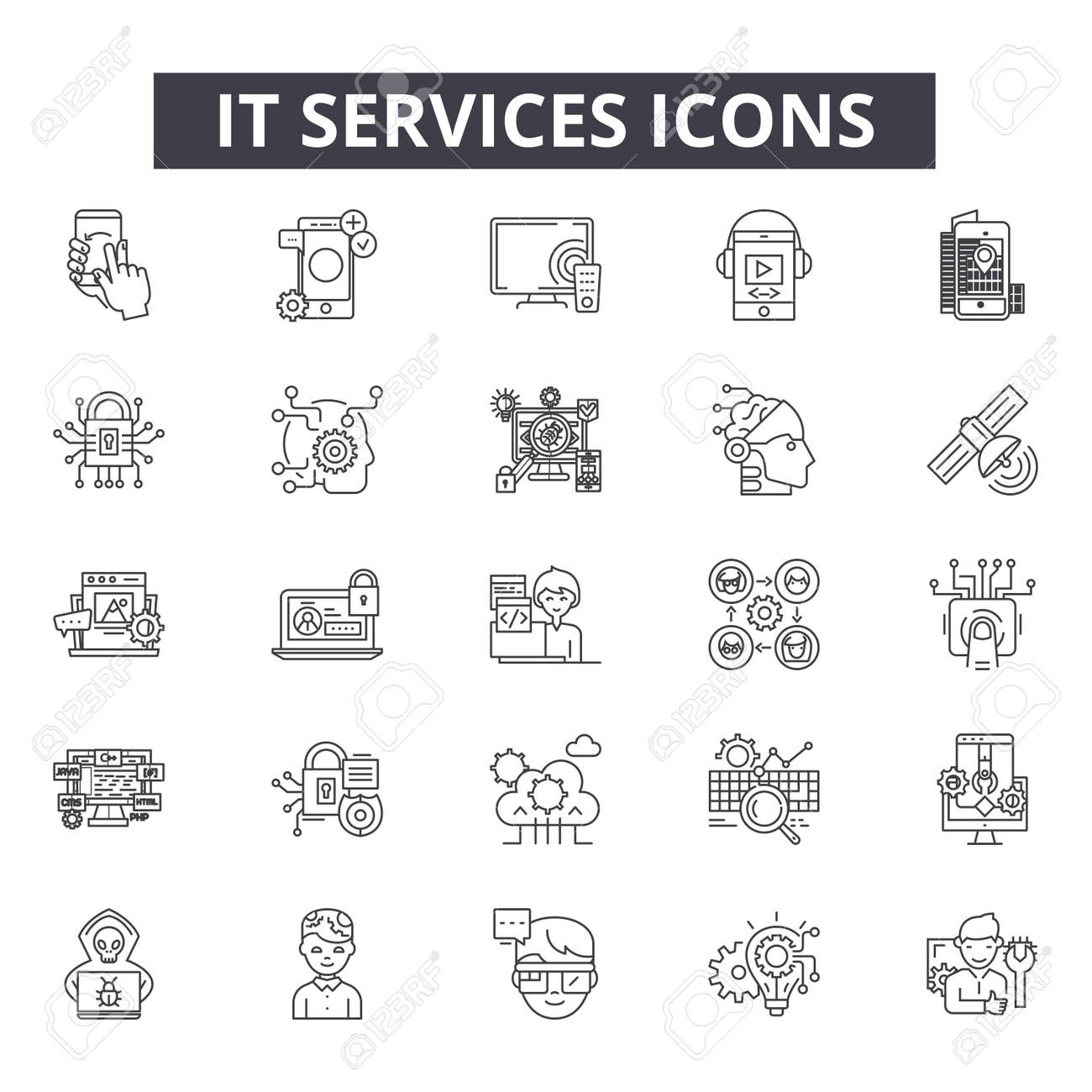It services line icons for web and mobile. Editable stroke signs. It services outline concept illustrations - 119235606