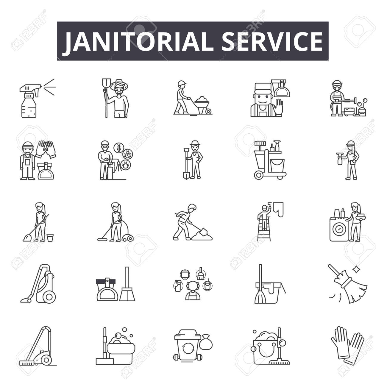 Janitorial service line icons for web and mobile. Editable stroke signs. Janitorial service outline concept illustrations - 119235485
