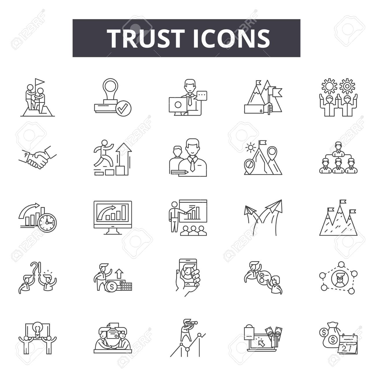 Trust line icons for web and mobile. Editable stroke signs. Trust outline concept illustrations - 119235317