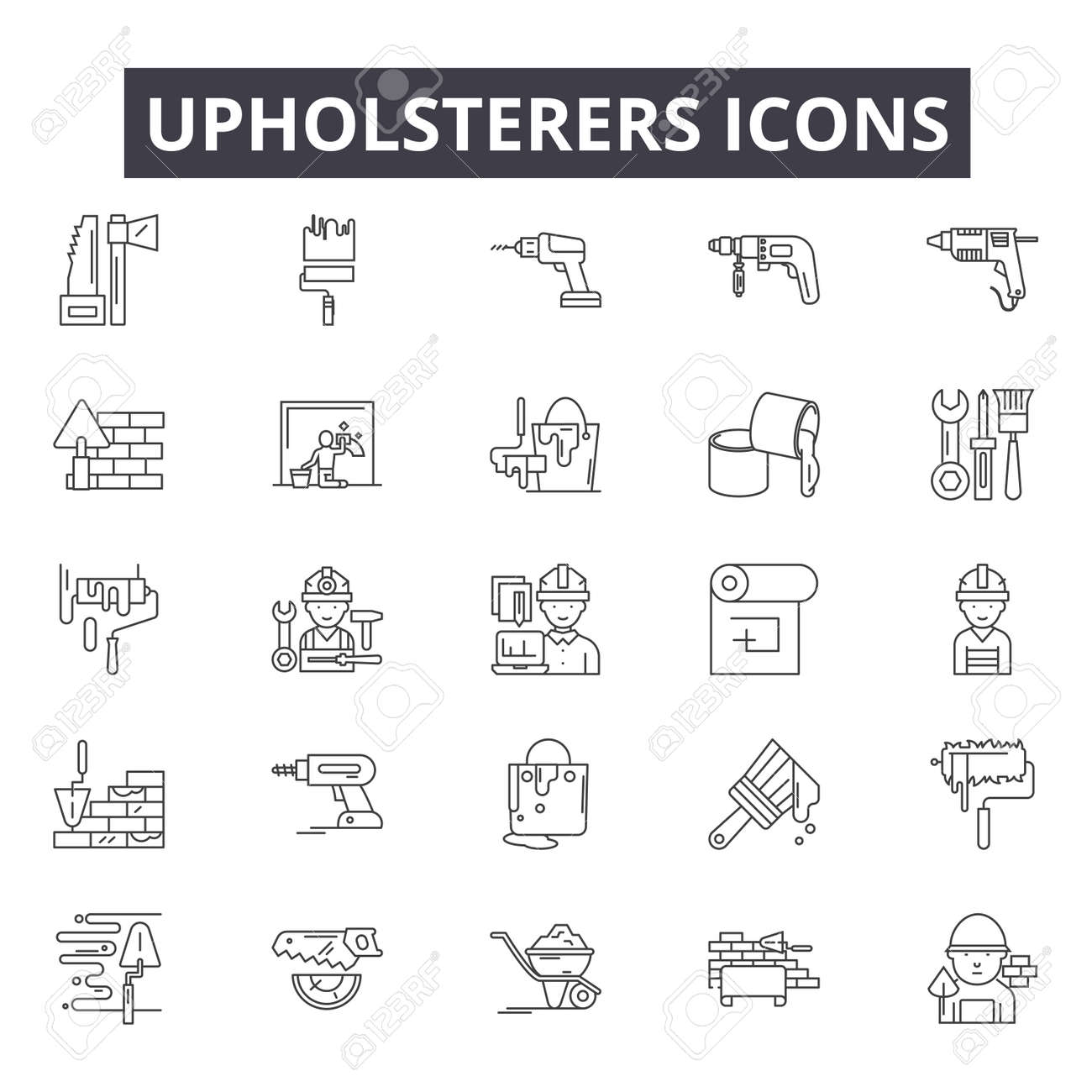 Upholsterers line icons for web and mobile. Editable stroke signs. Upholsterers outline concept illustrations - 119235325