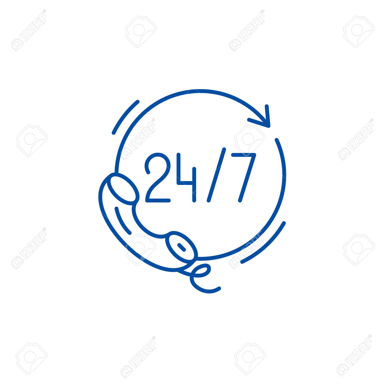 24 hours support line concept icon. 24 hours support flat vector website sign, outline symbol, illustration. - 119710255