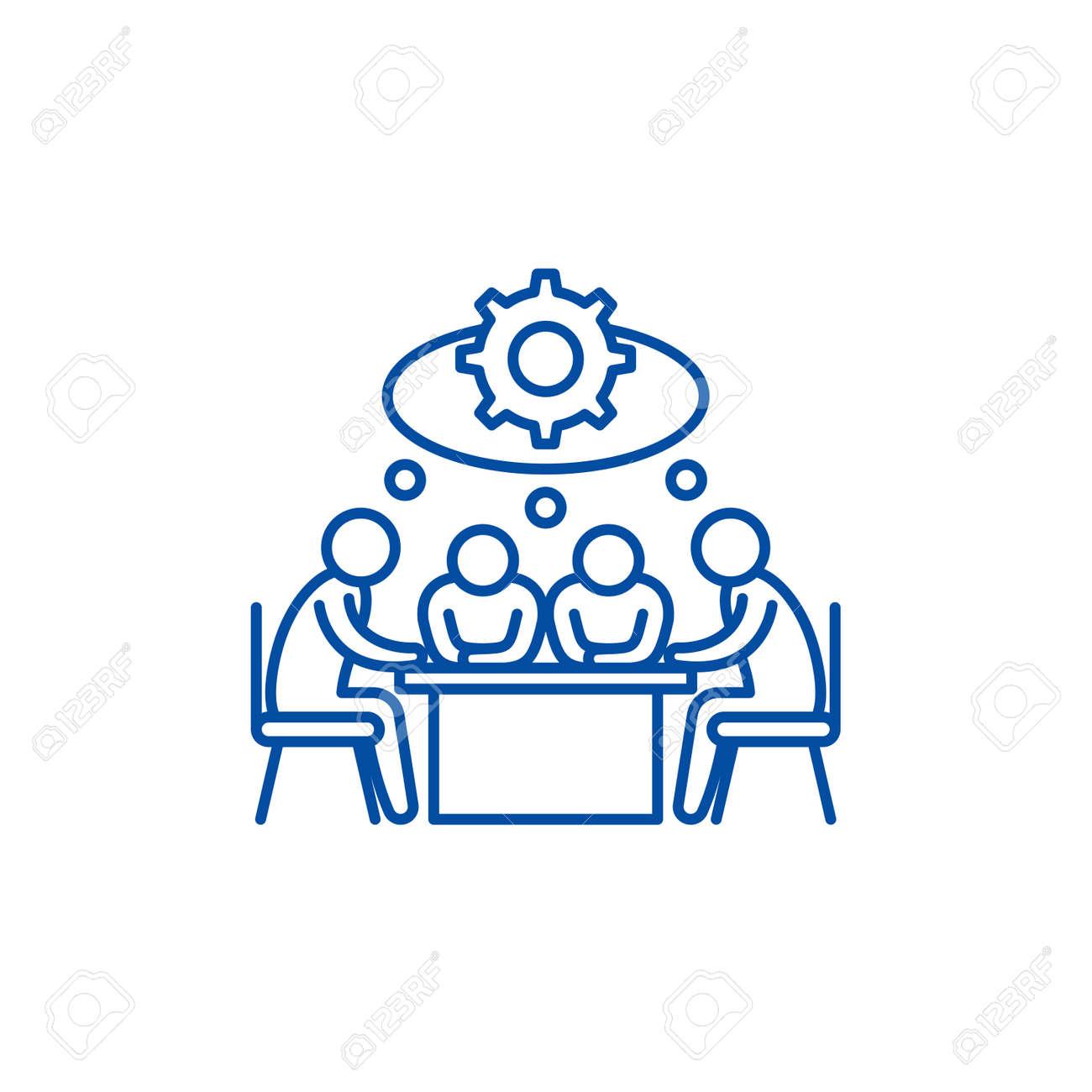 Brainstorming line concept icon. Brainstorming flat vector website sign, outline symbol, illustration. - 119711056