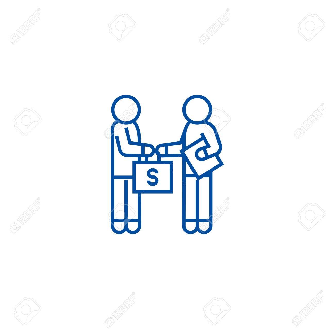Bribery and corruption, man giving money line concept icon. Bribery and corruption, man giving money flat vector website sign, outline symbol, illustration. - 119711102