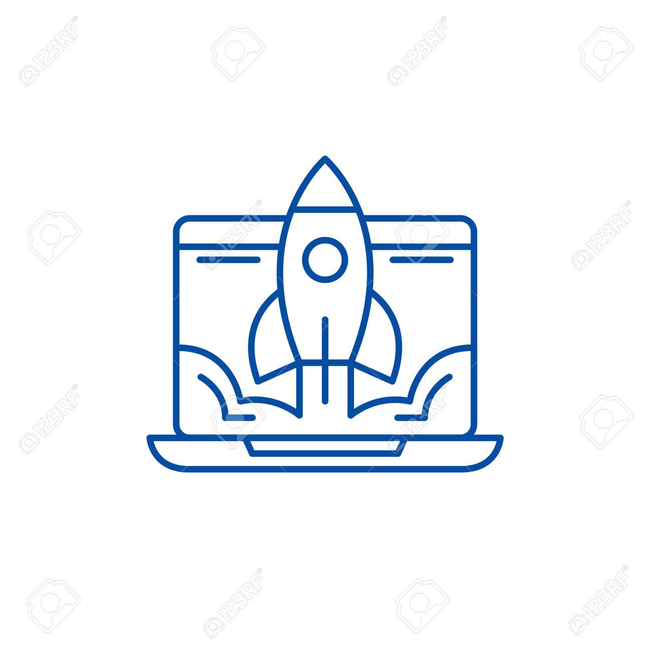 Business launch line concept icon. Business launch flat vector website sign, outline symbol, illustration. - 119711219