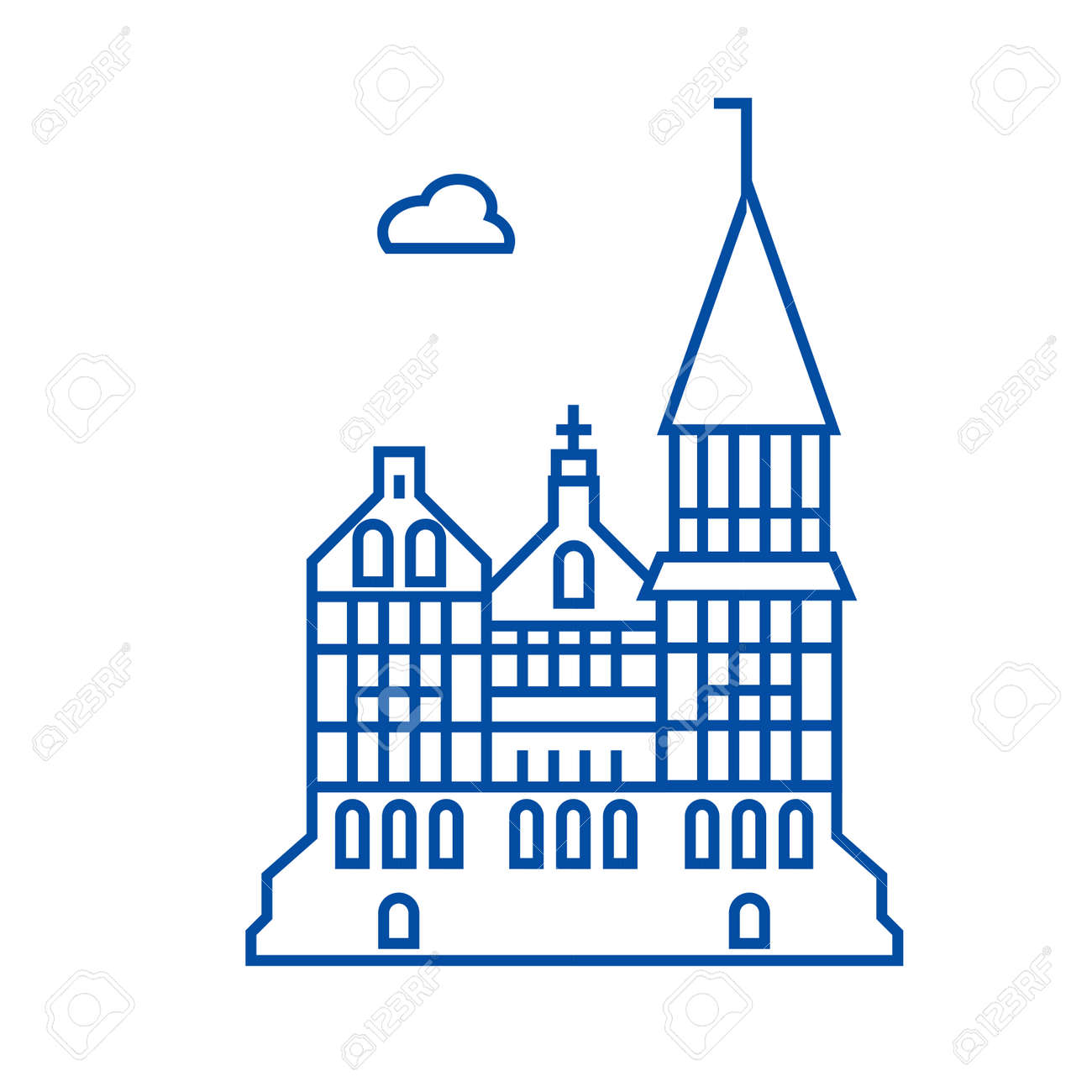 Cathedral, gothic church line concept icon  Cathedral, gothic