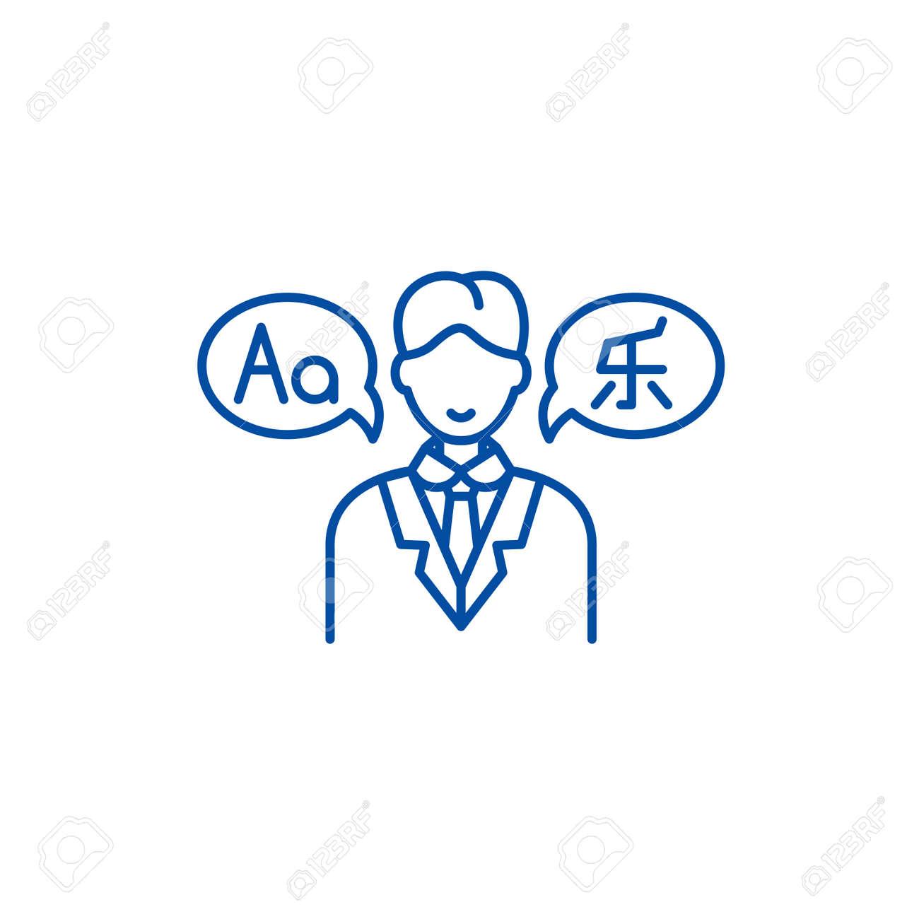 Translator line concept icon. Translator flat vector website sign, outline symbol, illustration. - 119676721