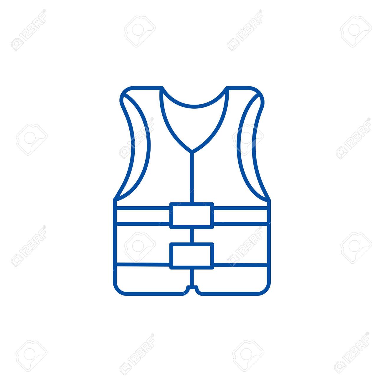 Vest line concept icon. Vest flat vector website sign, outline symbol, illustration. - 119713471