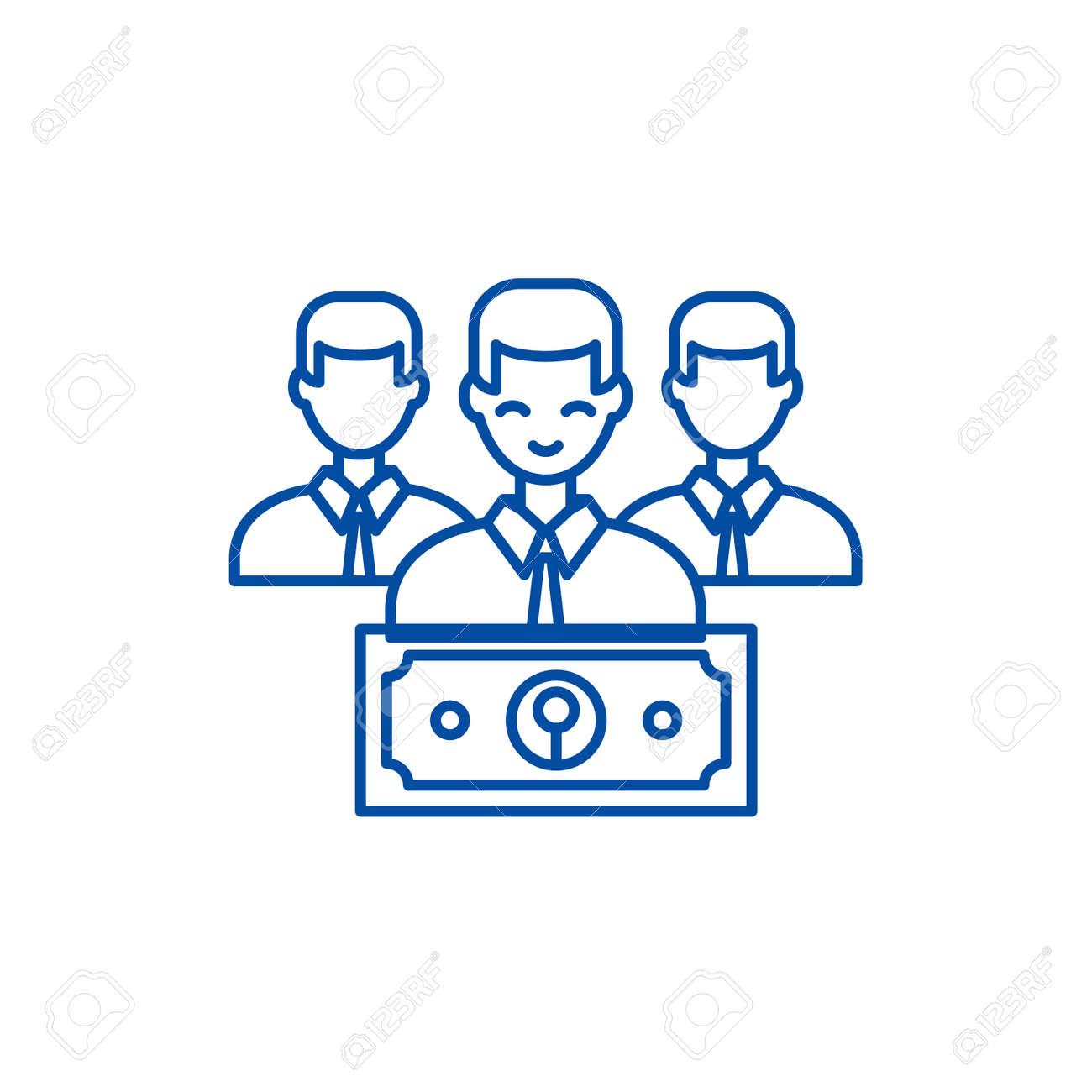 Wage line concept icon. Wage flat vector website sign, outline symbol, illustration. - 119713671