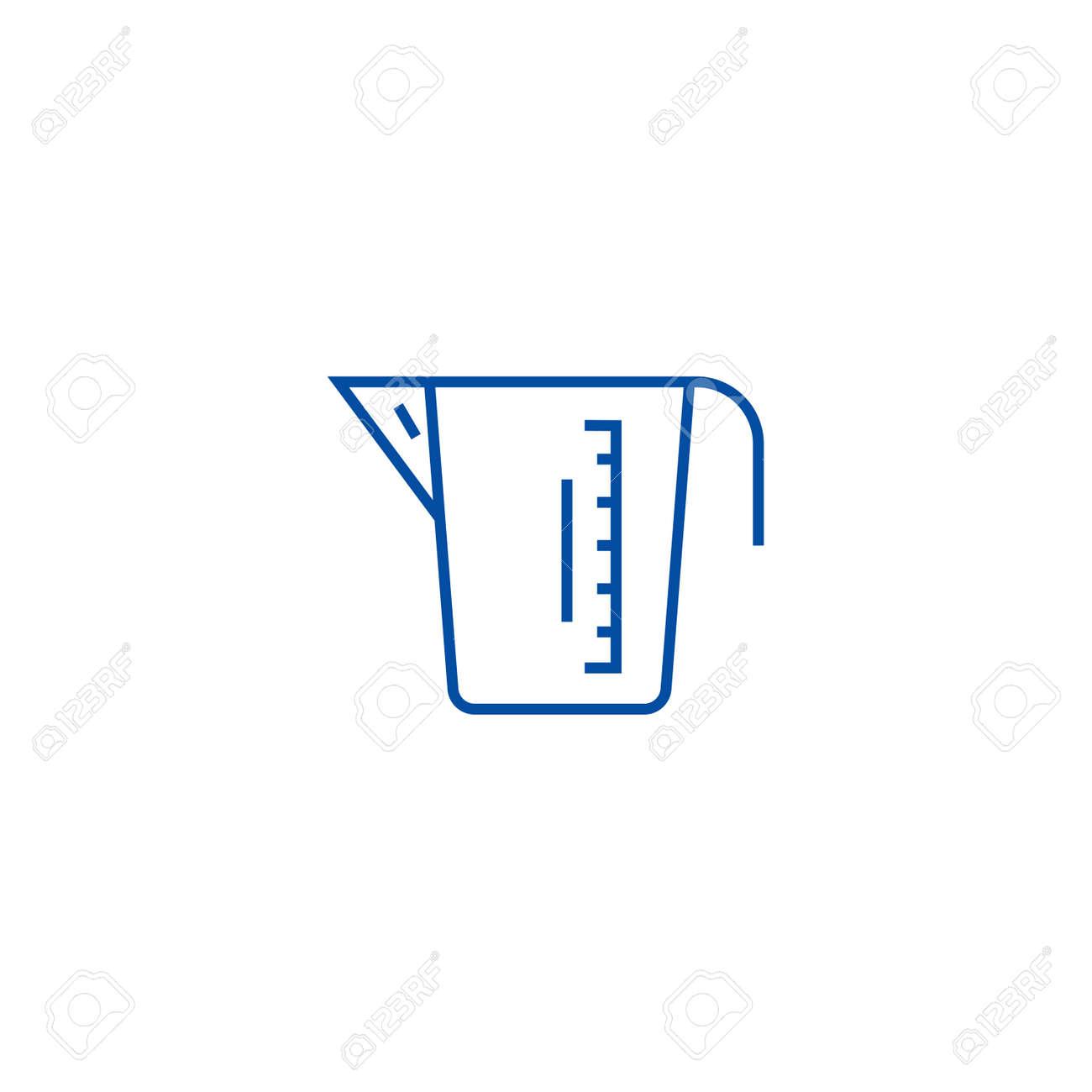 Measuring cup line concept icon. Measuring cup flat vector website sign, outline symbol, illustration. - 120056370