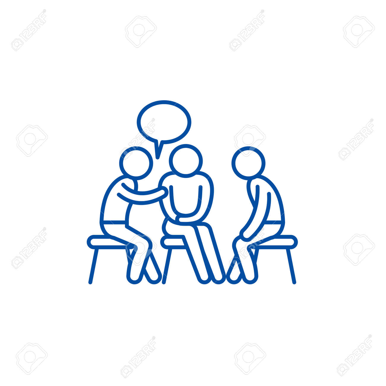 Mentorship line concept icon. Mentorship flat vector website sign, outline symbol, illustration. - 120117420