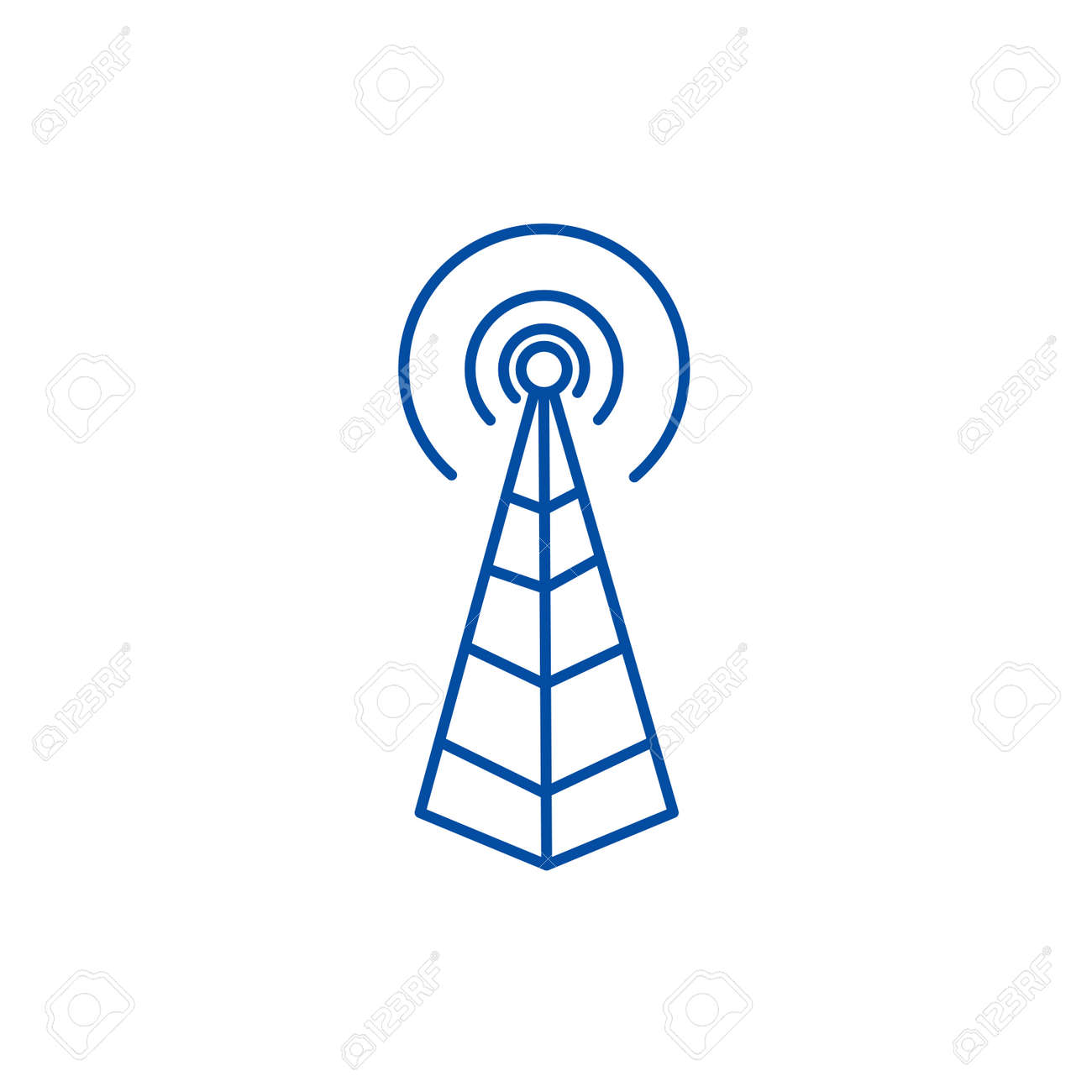 Frequency antenna,radio tower line concept icon. Frequency antenna,radio tower flat vector website sign, outline symbol, illustration. - 119986205