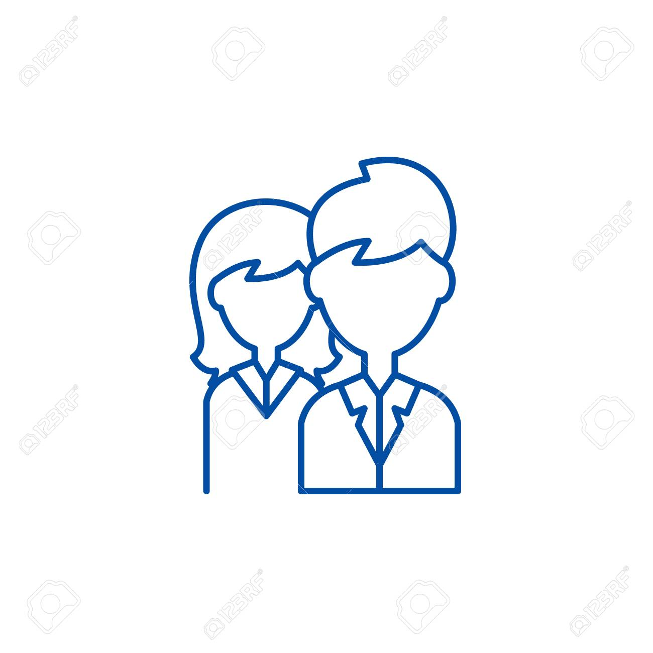 Company staff line concept icon. Company staff flat vector website sign, outline symbol, illustration. - 119722658