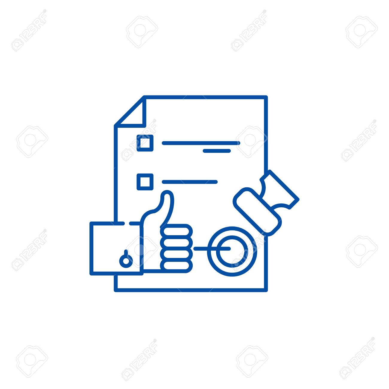 Quality control system line concept icon. Quality control system flat vector website sign, outline symbol, illustration. - 120117570