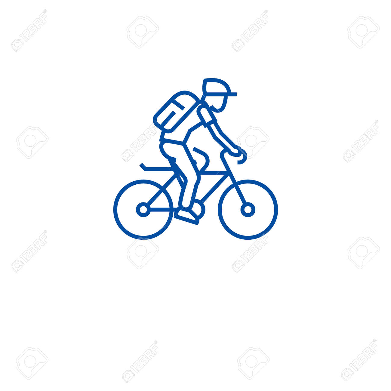 Riding bicycle line concept icon. Riding bicycle flat vector website sign, outline symbol, illustration. - 120022330