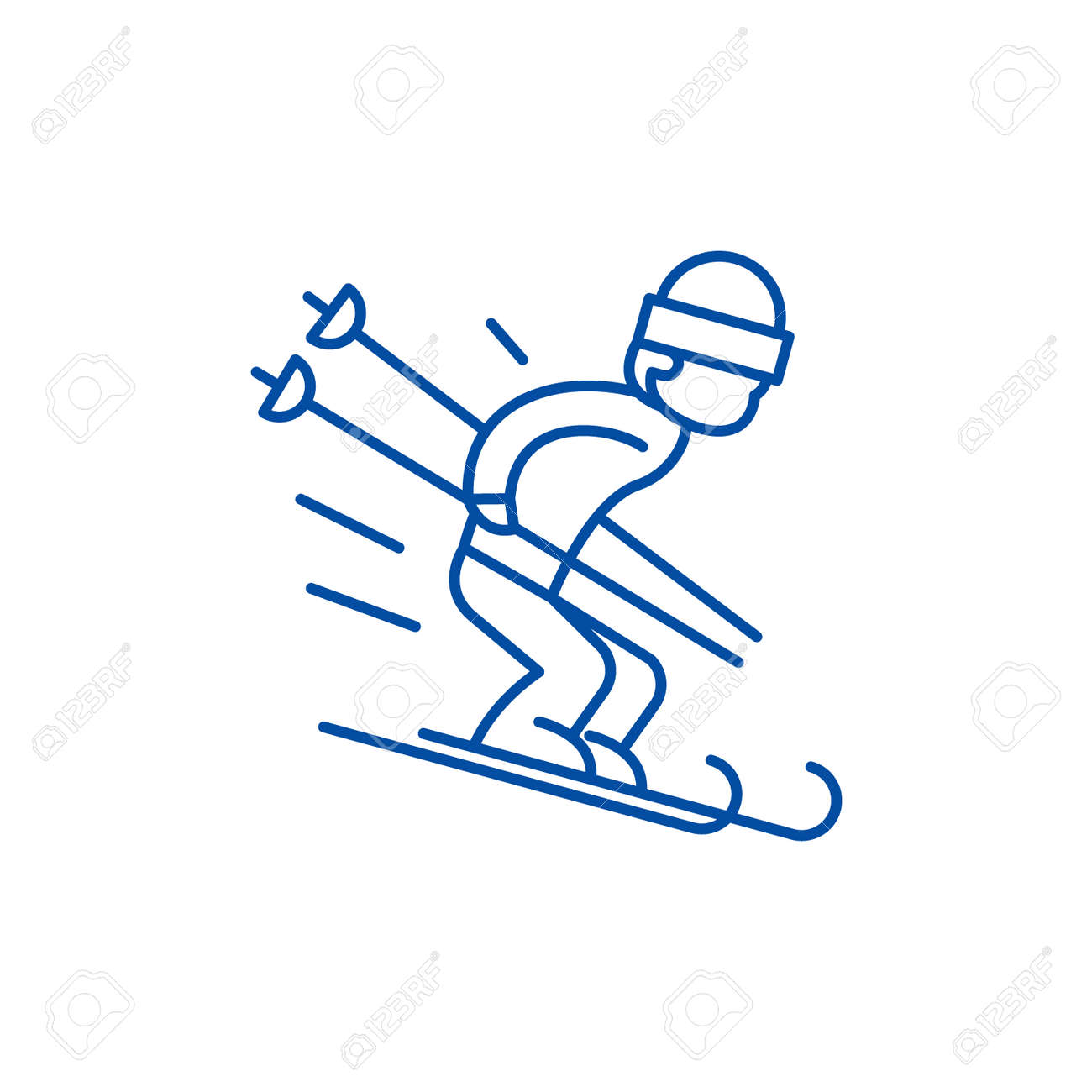 Snow skiing line concept icon. Snow skiing flat vector website sign, outline symbol, illustration. - 119920921