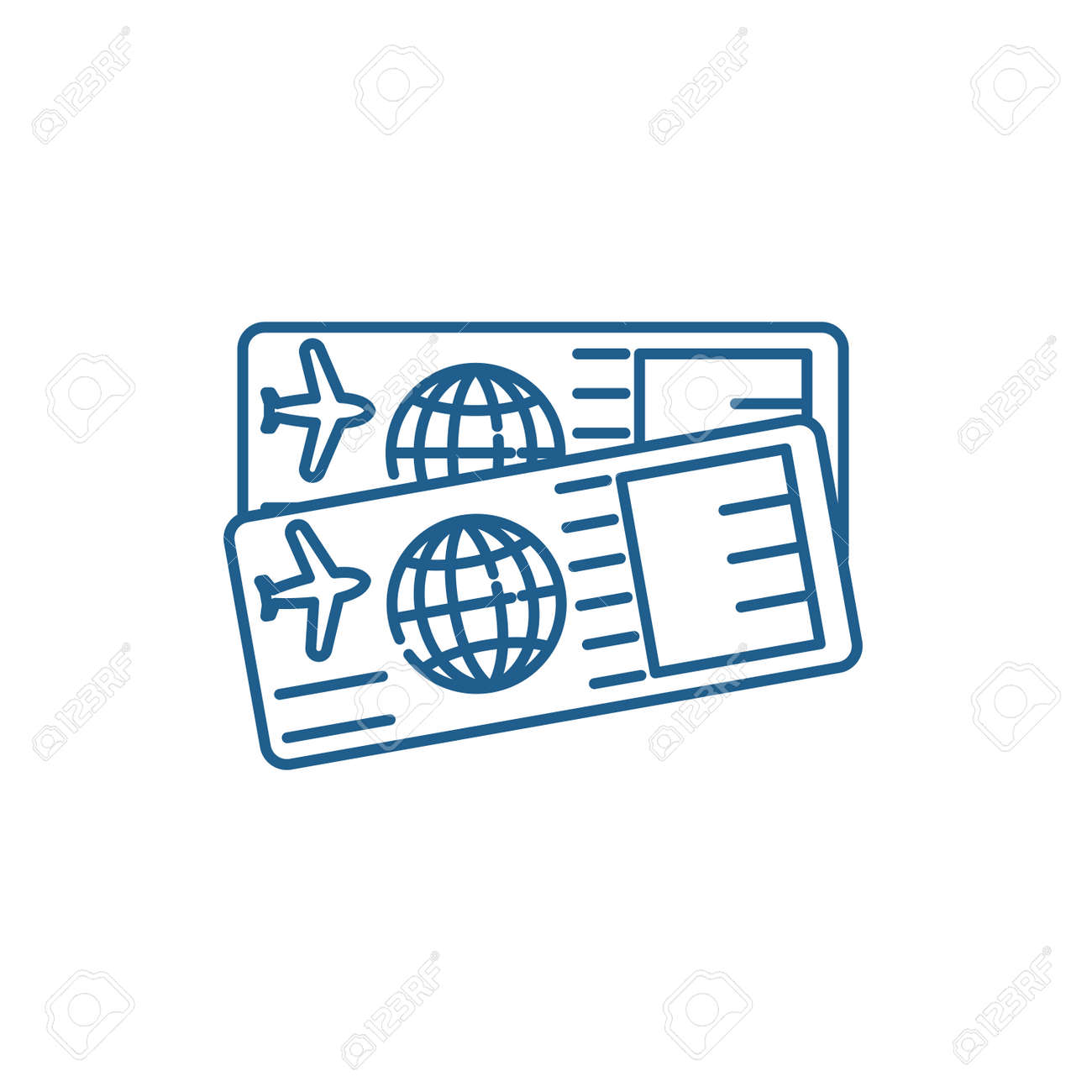 Airplane tickets line concept icon. Airplane tickets flat vector website sign, outline symbol, illustration. - 119920005