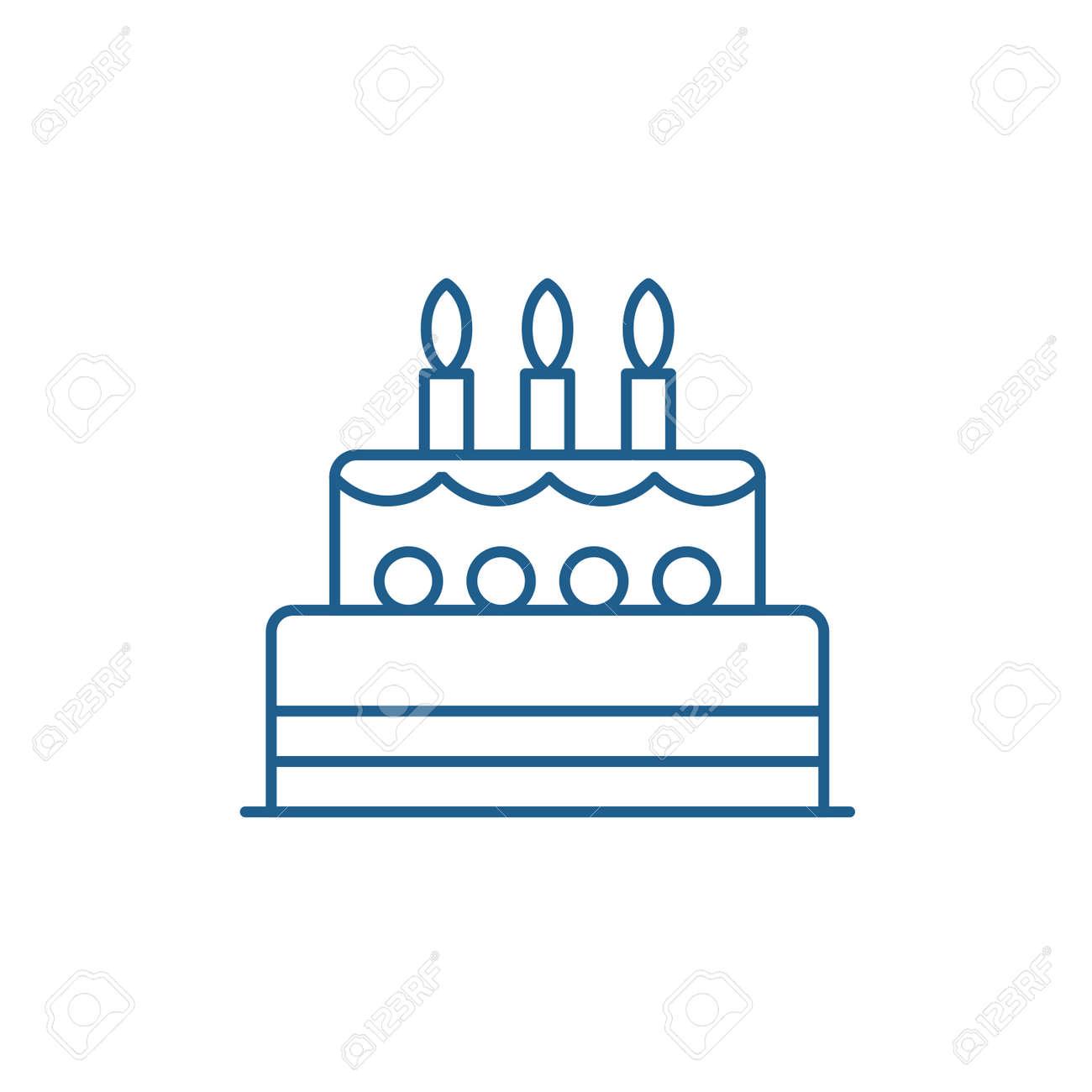 Birthday cake line concept icon. Birthday cake flat vector website sign, outline symbol, illustration. - 119919163