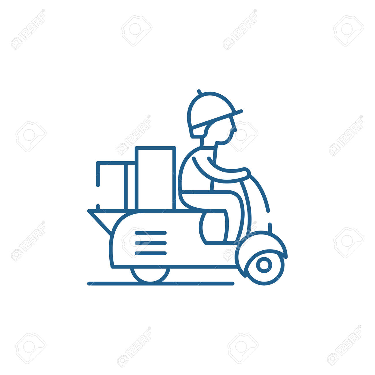 Courier on a motor scooter line concept icon. Courier on a motor scooter flat vector website sign, outline symbol, illustration. - 119916647