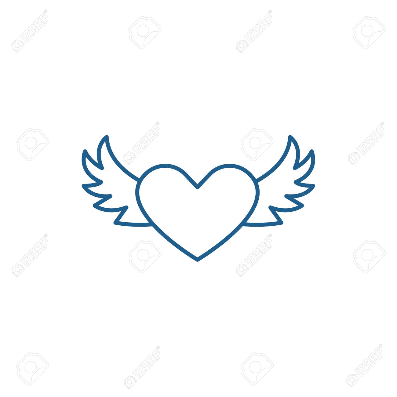 Heart With Wings Line Concept Icon Heart With Wings Flat Vector Royalty Free Cliparts Vectors And Stock Illustration Image 119908144