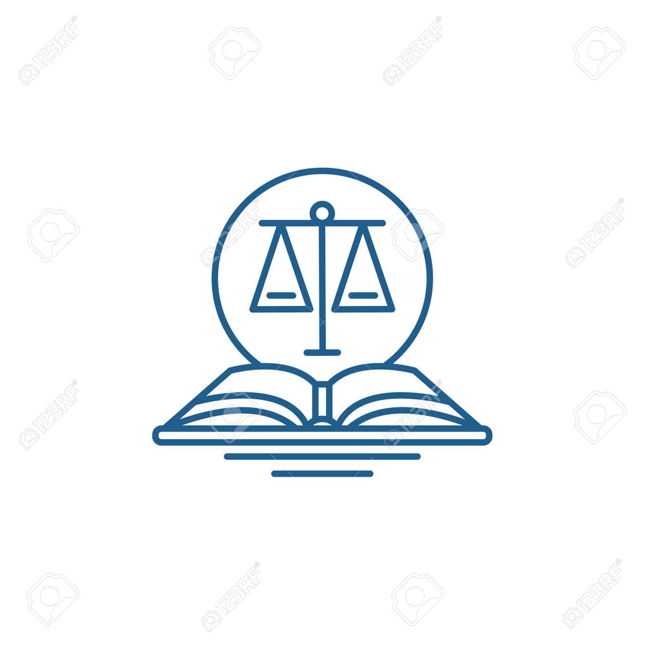 Legal code line concept icon. Legal code flat vector website sign, outline symbol, illustration. - 119908972