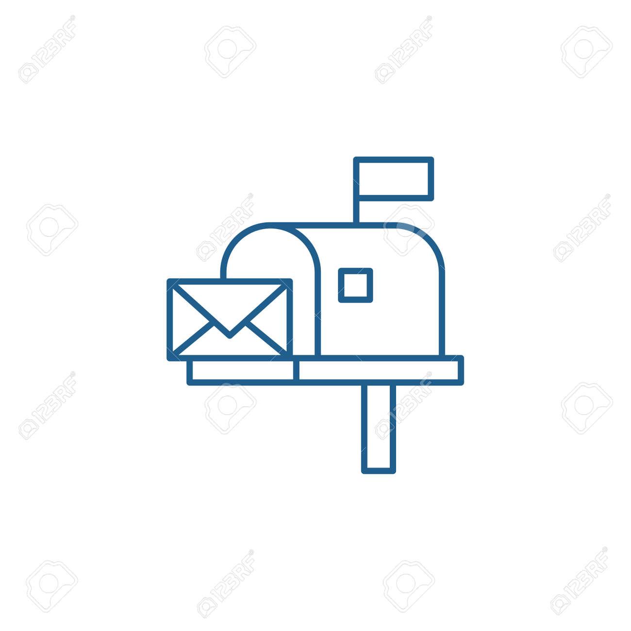 Mailbox line concept icon. Mailbox flat vector website sign, outline symbol, illustration. - 119910774