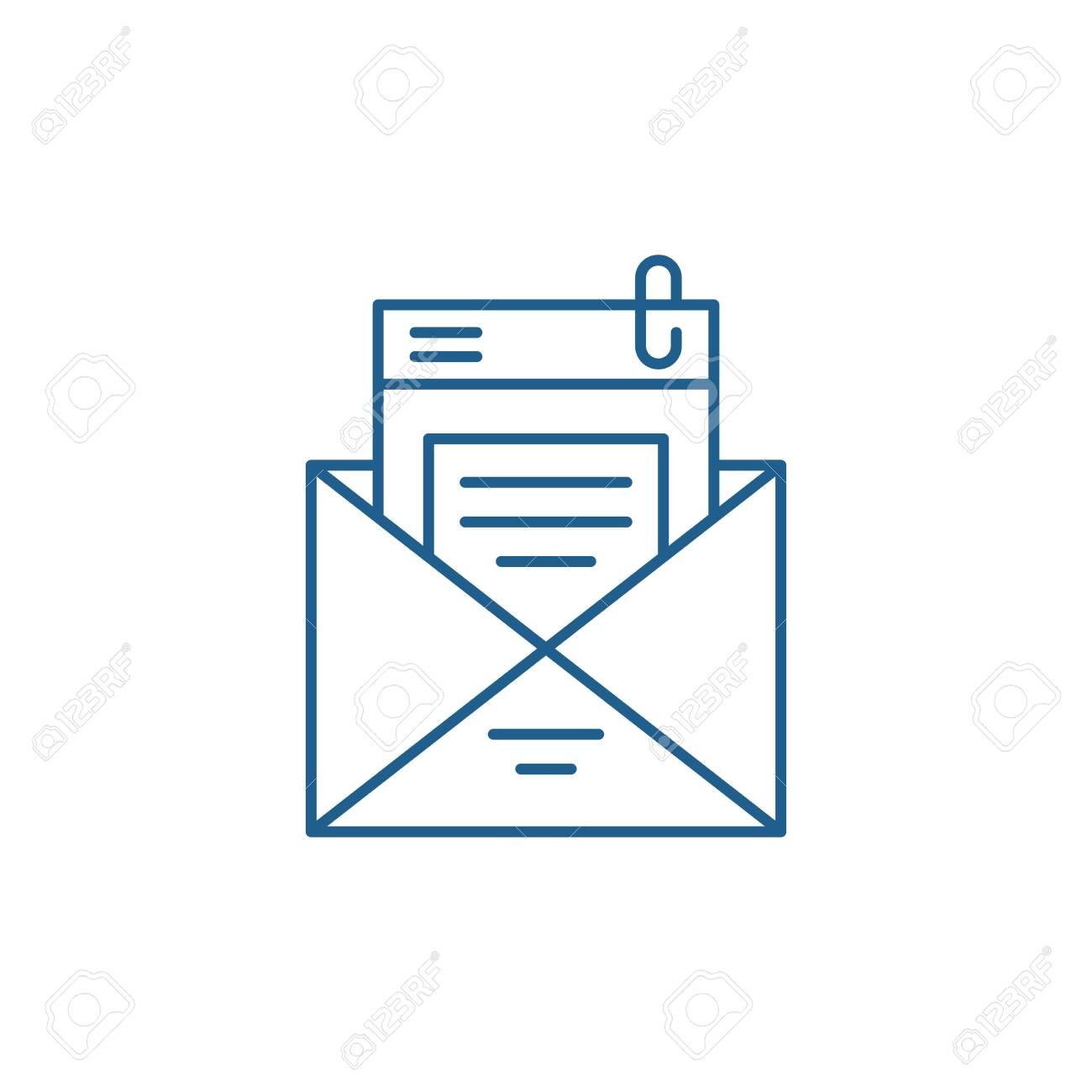 Mailing list line concept icon. Mailing list flat vector website sign, outline symbol, illustration. - 119910775