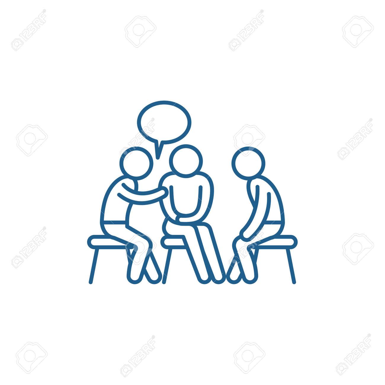Mentorship line concept icon. Mentorship flat vector website sign, outline symbol, illustration. - 119911043
