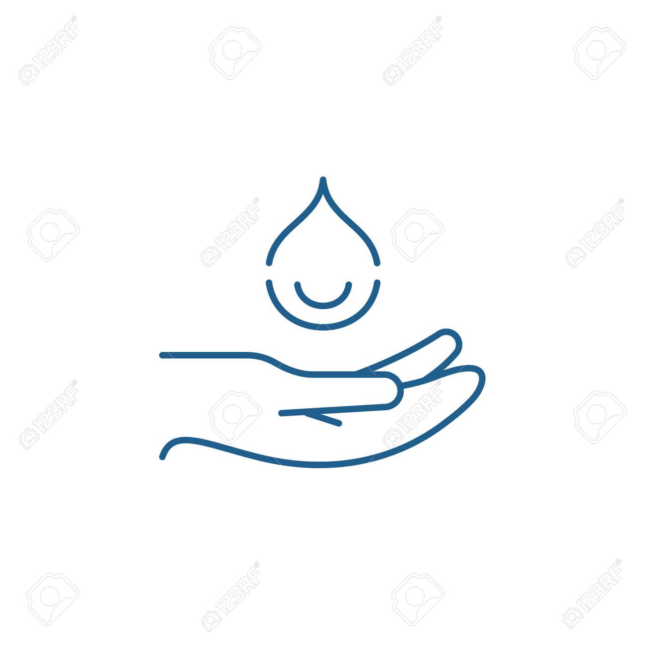 Moisturizing hands line concept icon. Moisturizing hands flat vector website sign, outline symbol, illustration. - 119911225