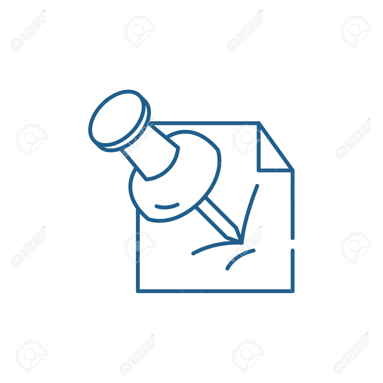Office pin line concept icon. Office pin flat vector website sign, outline symbol, illustration. - 119911367