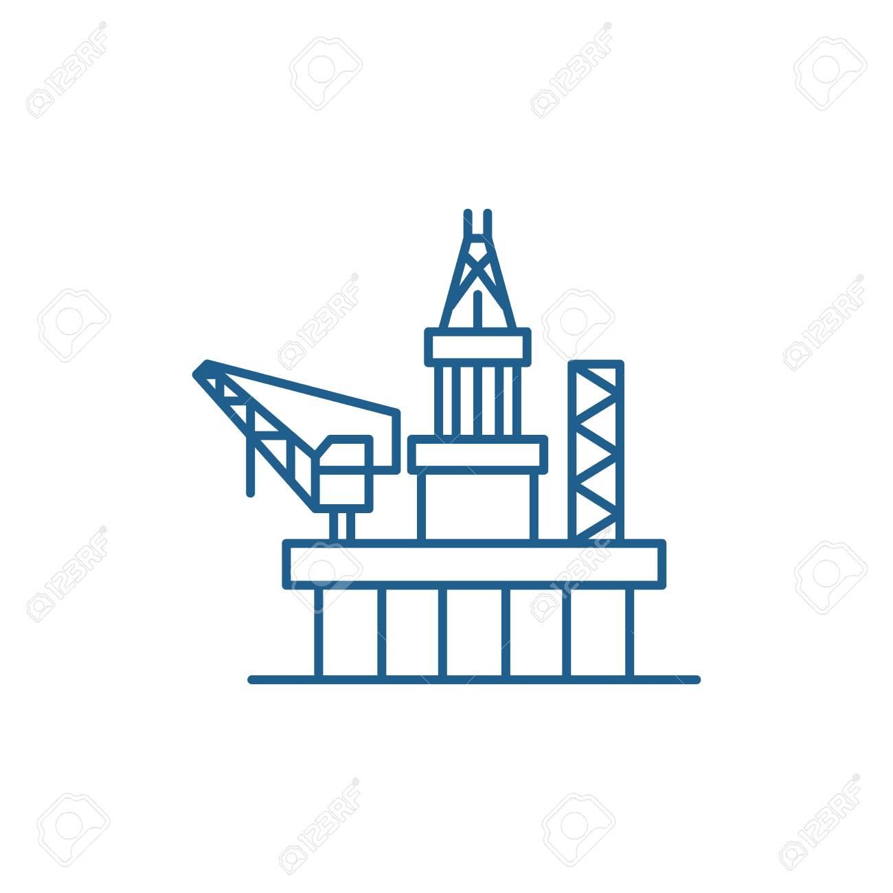 Oil platforms line concept icon. Oil platforms flat vector website sign, outline symbol, illustration. - 119911379