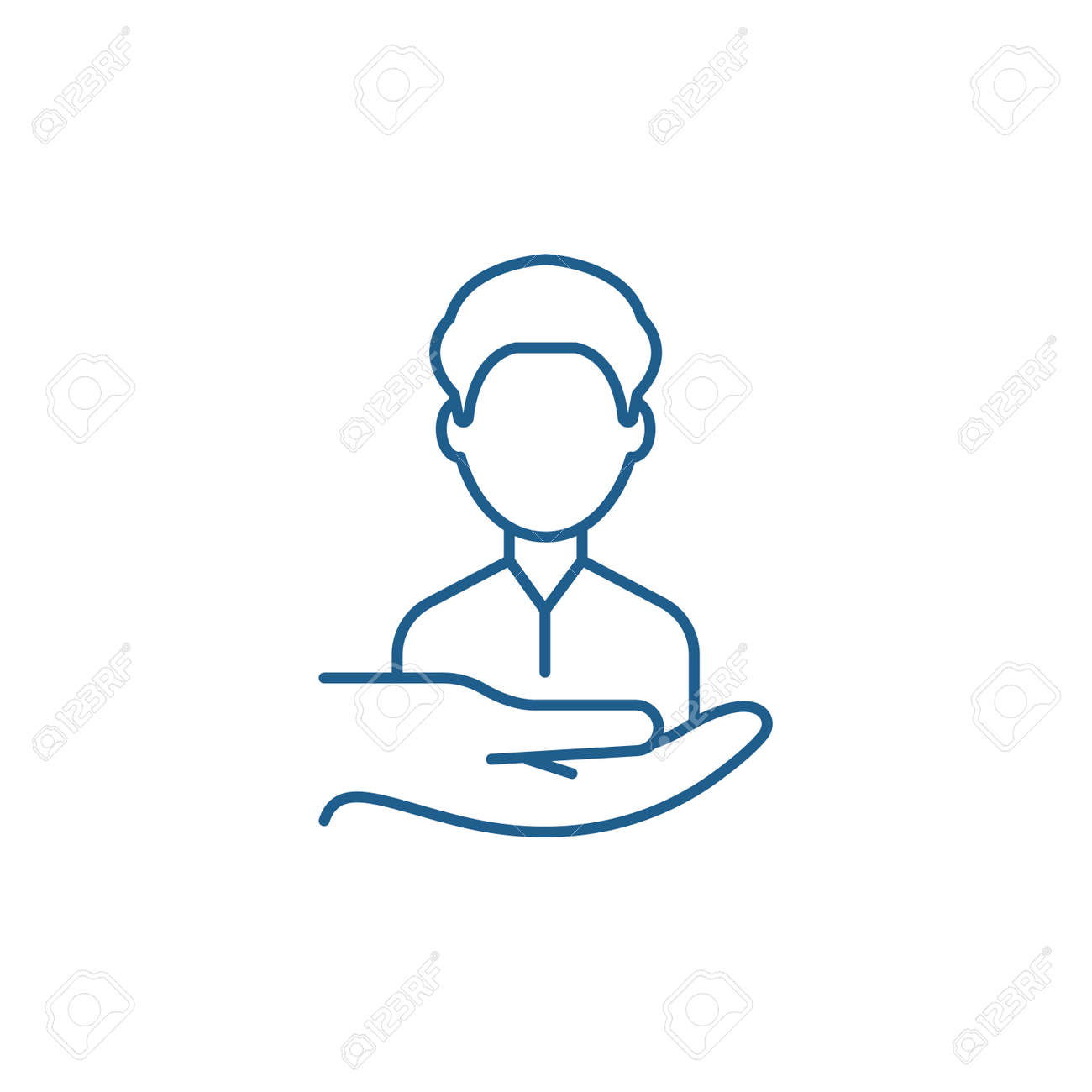 Return customers line concept icon. Return customers flat vector website sign, outline symbol, illustration. - 119911964
