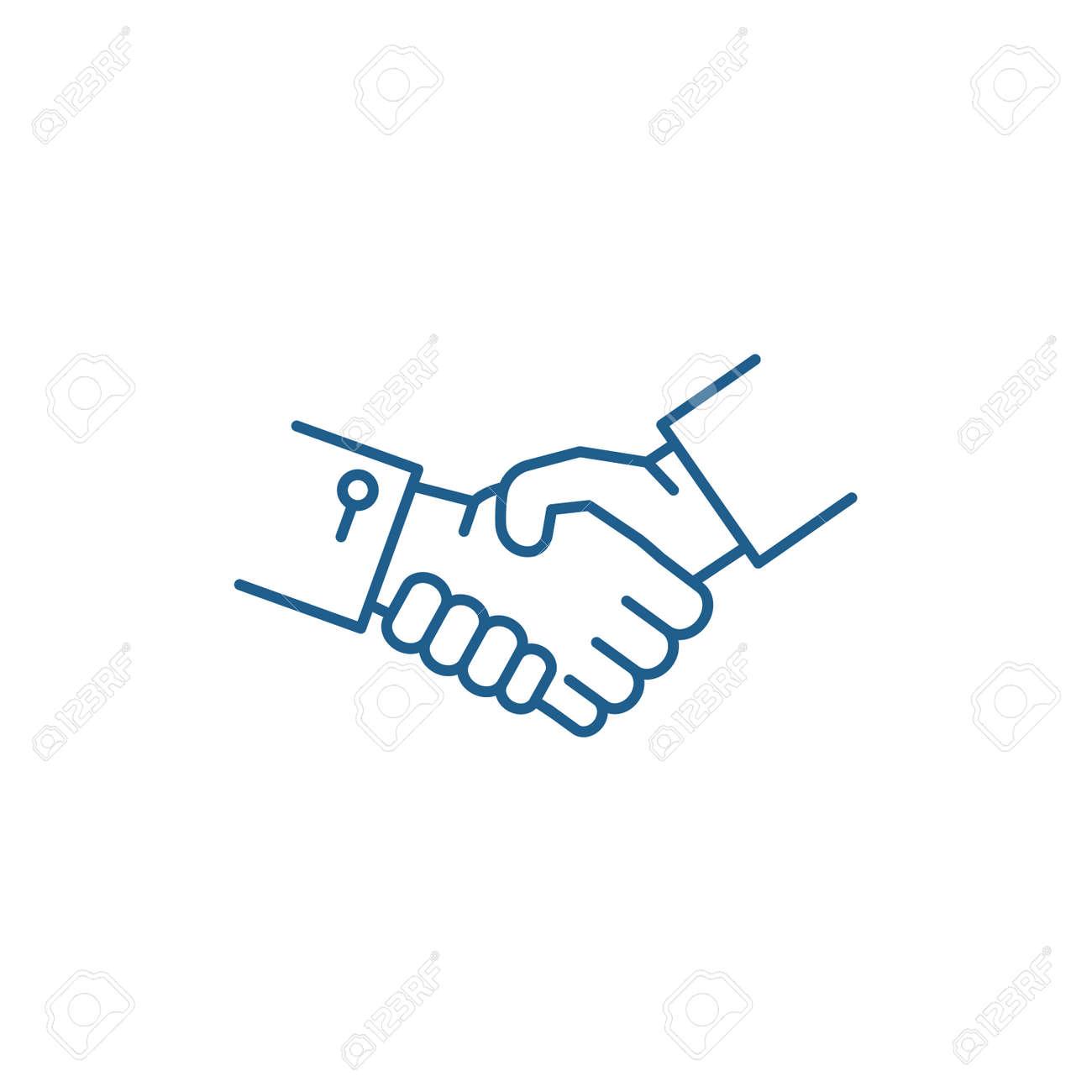 Shake hands line concept icon. Shake hands flat vector website sign, outline symbol, illustration. - 120186423