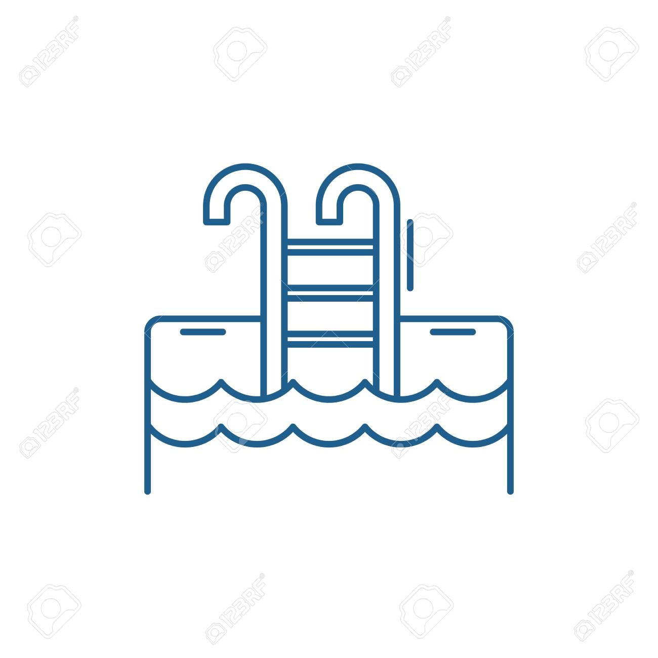 Sports pool line concept icon. Sports pool flat vector website sign, outline symbol, illustration. - 120117232