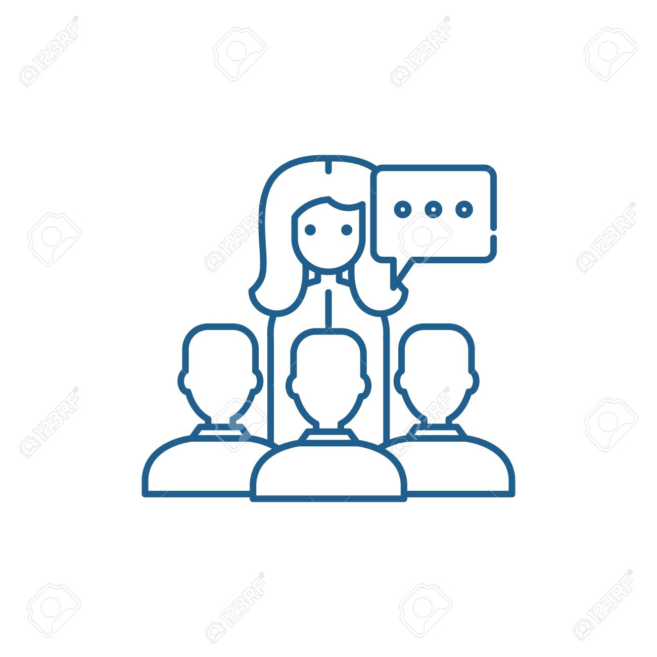 Teaching line concept icon. Teaching flat vector website sign, outline symbol, illustration. - 120117666