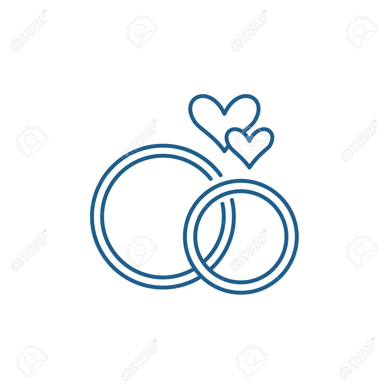 Wedding rings line concept icon. Wedding rings flat vector website sign, outline symbol, illustration. - 120118108