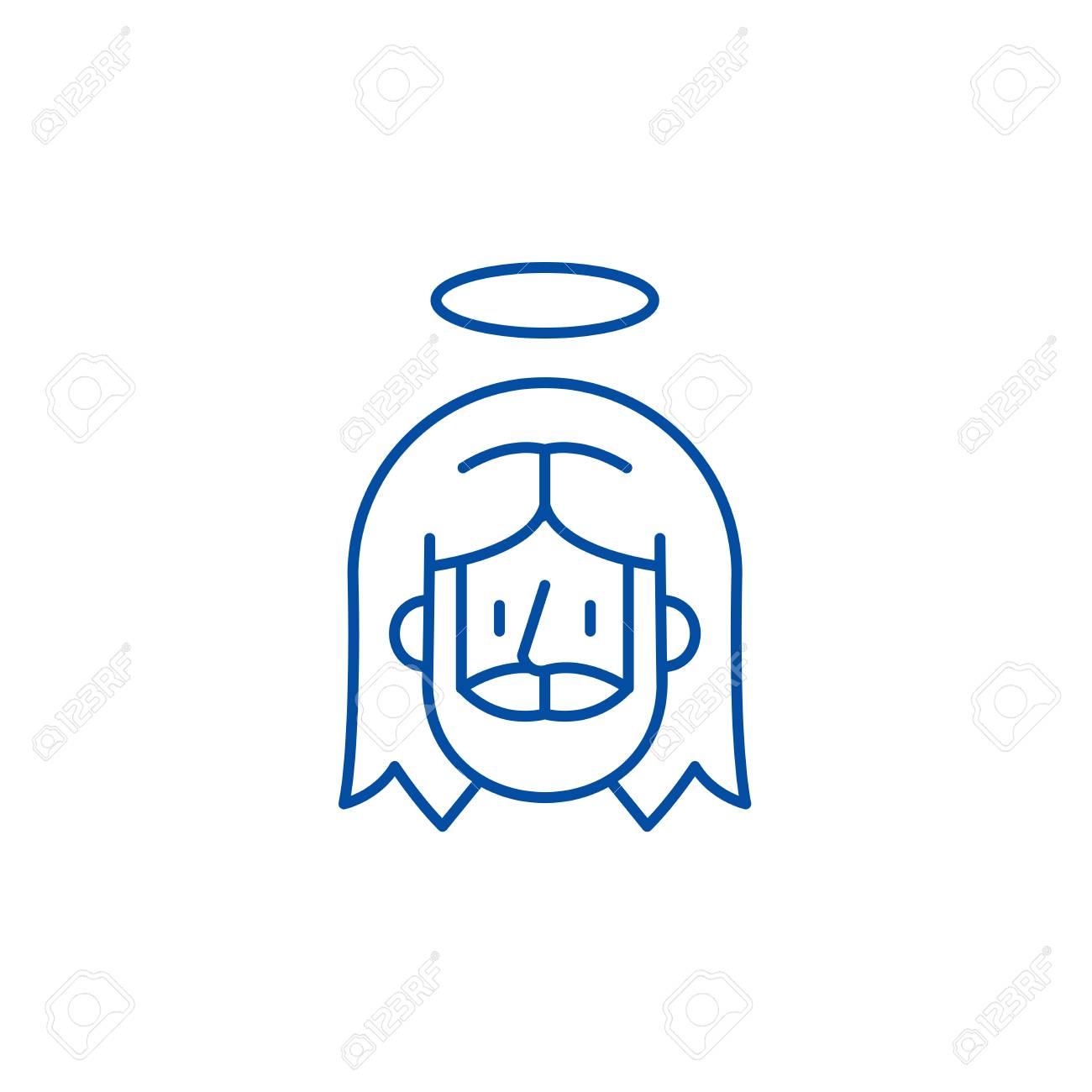 Jesus line concept icon. Jesus flat vector website sign, outline symbol, illustration. - 120185721