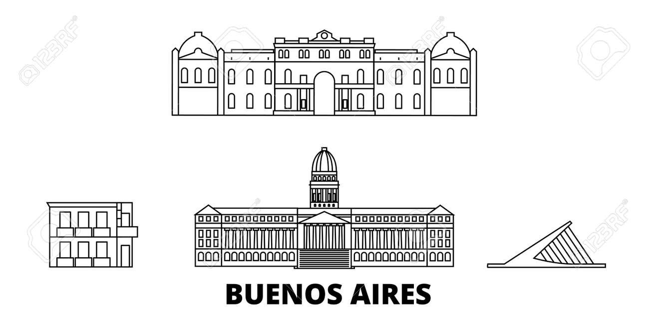 Argentina, Buenos Aires line travel skyline set. Argentina, Buenos Aires outline city vector panorama, illustration, travel sights, landmarks, streets. - 120565301