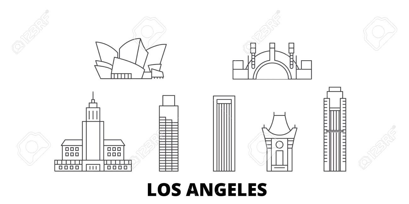 United States, Los Angeles line travel skyline set. United States, Los Angeles outline city vector panorama, illustration, travel sights, landmarks, streets. - 123897187