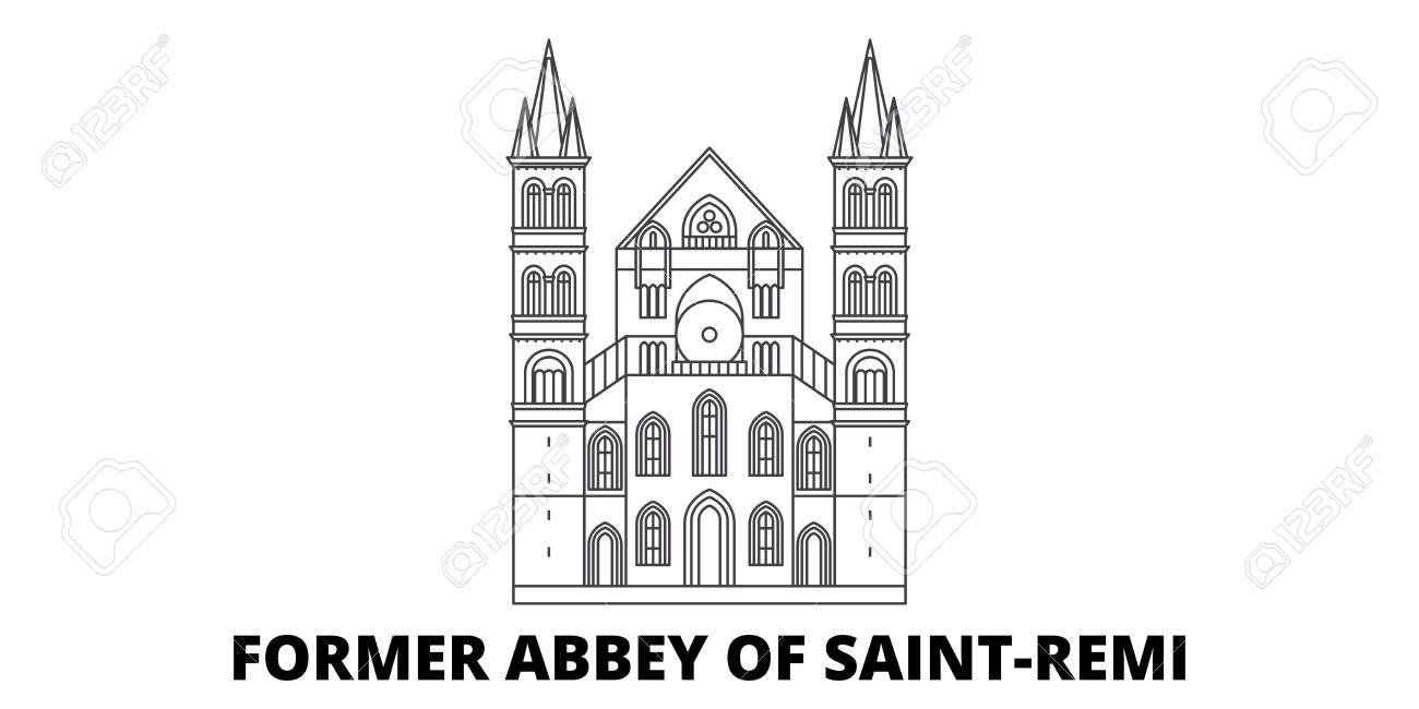 France, Former Abbey Of Saint Remi Landmark line travel skyline set. France, Former Abbey Of Saint Remi Landmark outline city vector panorama, illustration, travel sights, landmarks, streets. - 120657167