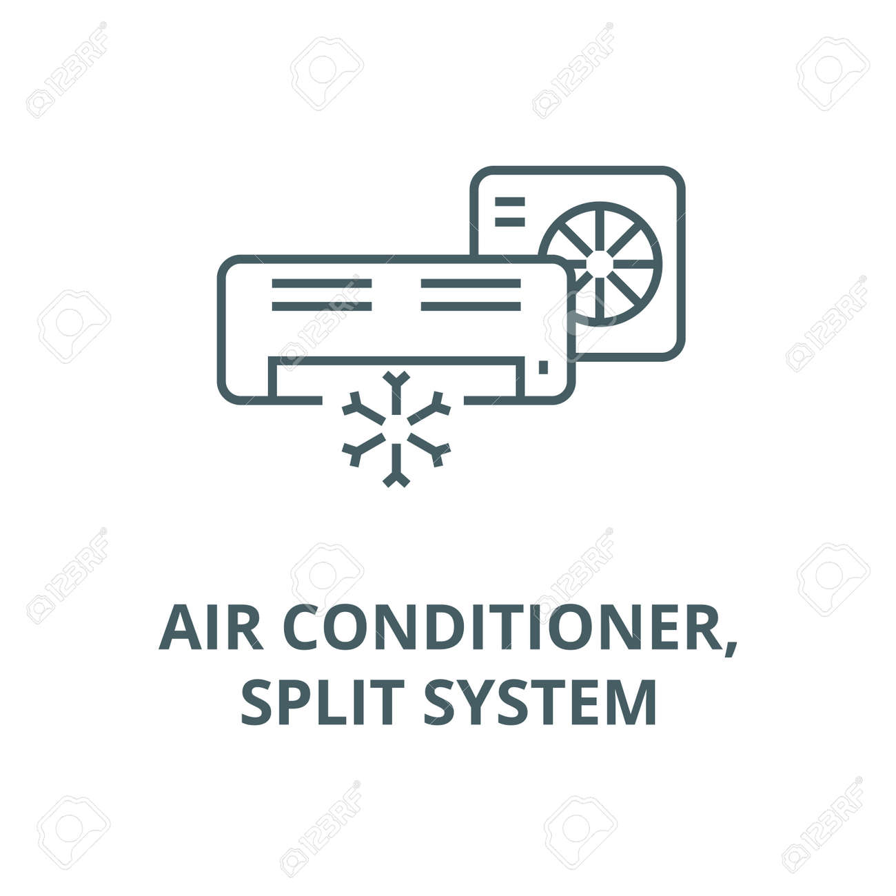 Air conditioner,split system line icon, vector. Air conditioner,split system outline sign, concept symbol, illustration - 123789821