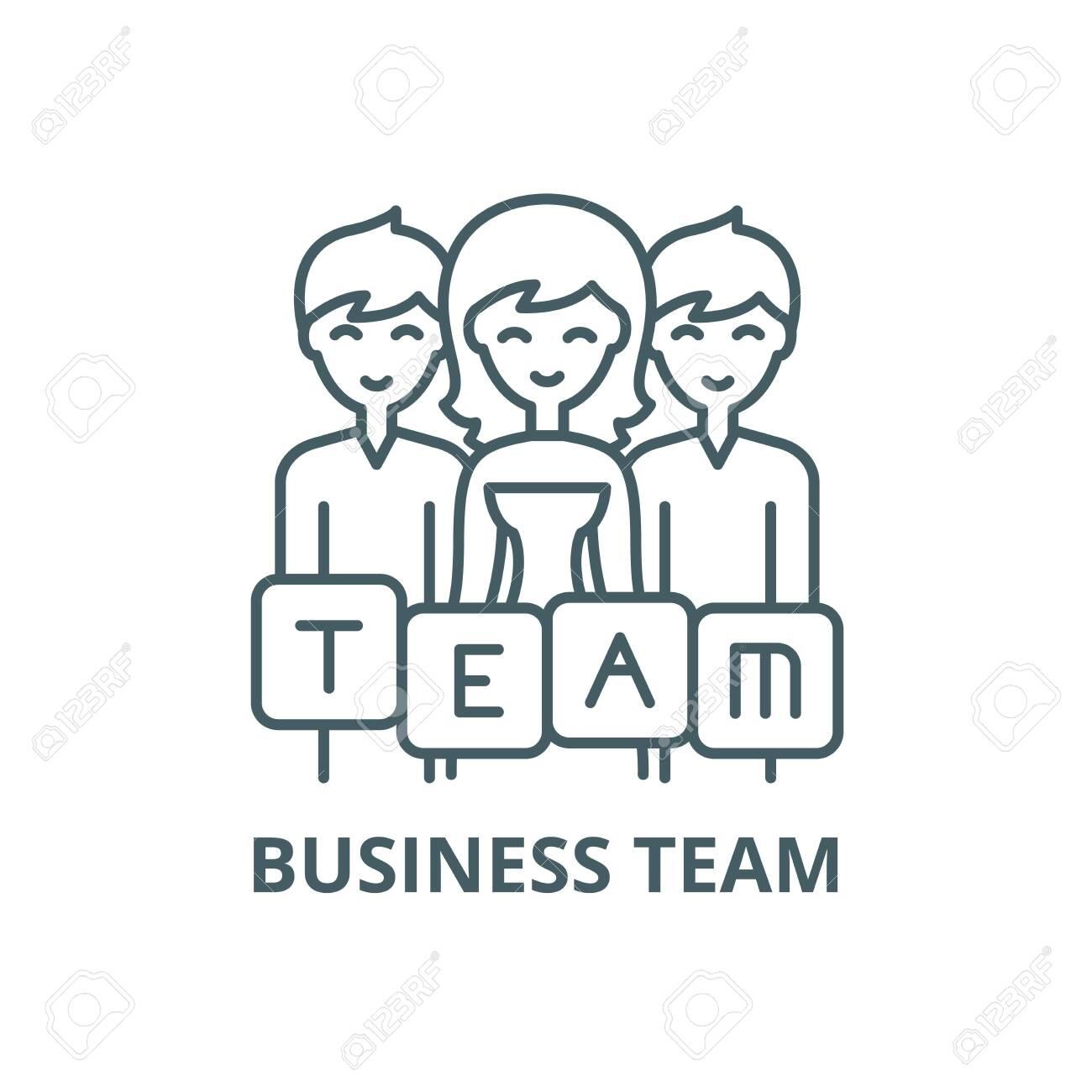 Business team line icon, vector. Business team outline sign, concept symbol, illustration - 123749538