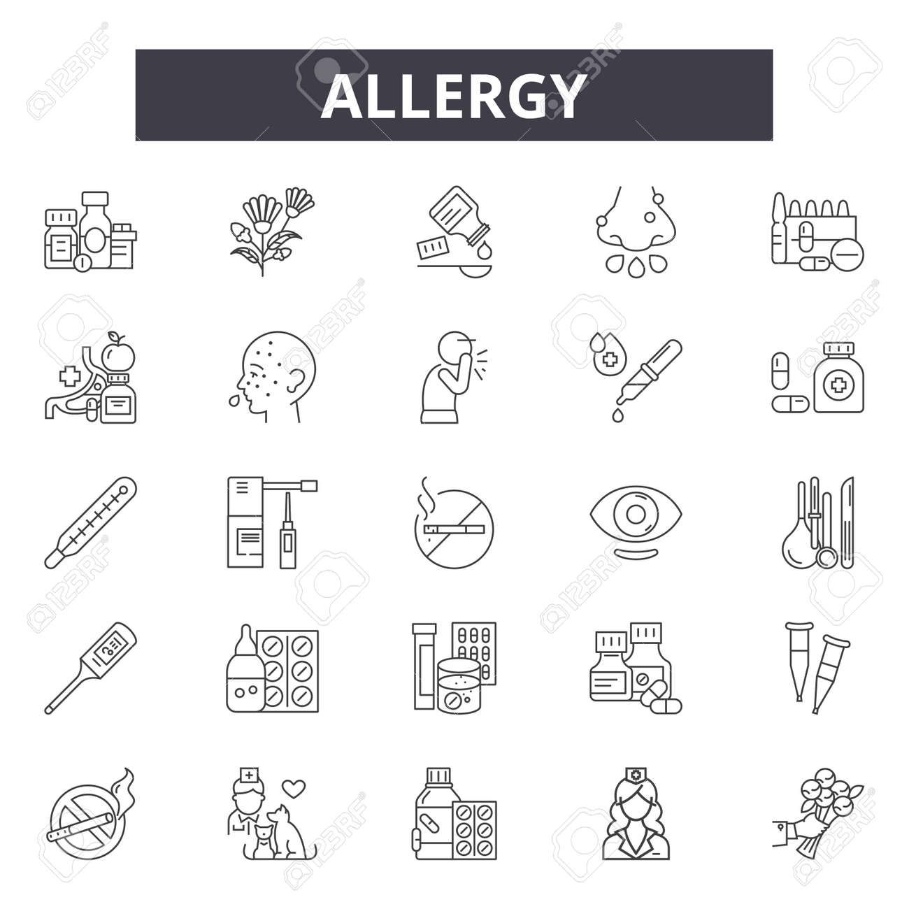 Allergy line icons, signs set, vector. Allergy outline concept illustration: allergy,food,health,lactose,wheat,symbol - 120892361