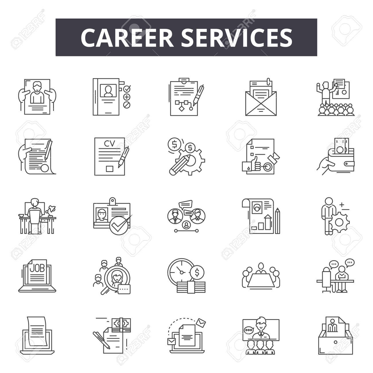Career line icons, signs set, vector. Career outline concept illustration: business,career,manager,businessman,job,person,people - 120893801