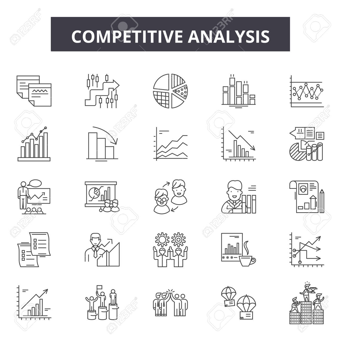 Competitive analysis line icons, signs set, vector. Competitive analysis outline concept illustration: analysis,strategy,business,solution,marketing,success,competition,management,target - 123581931