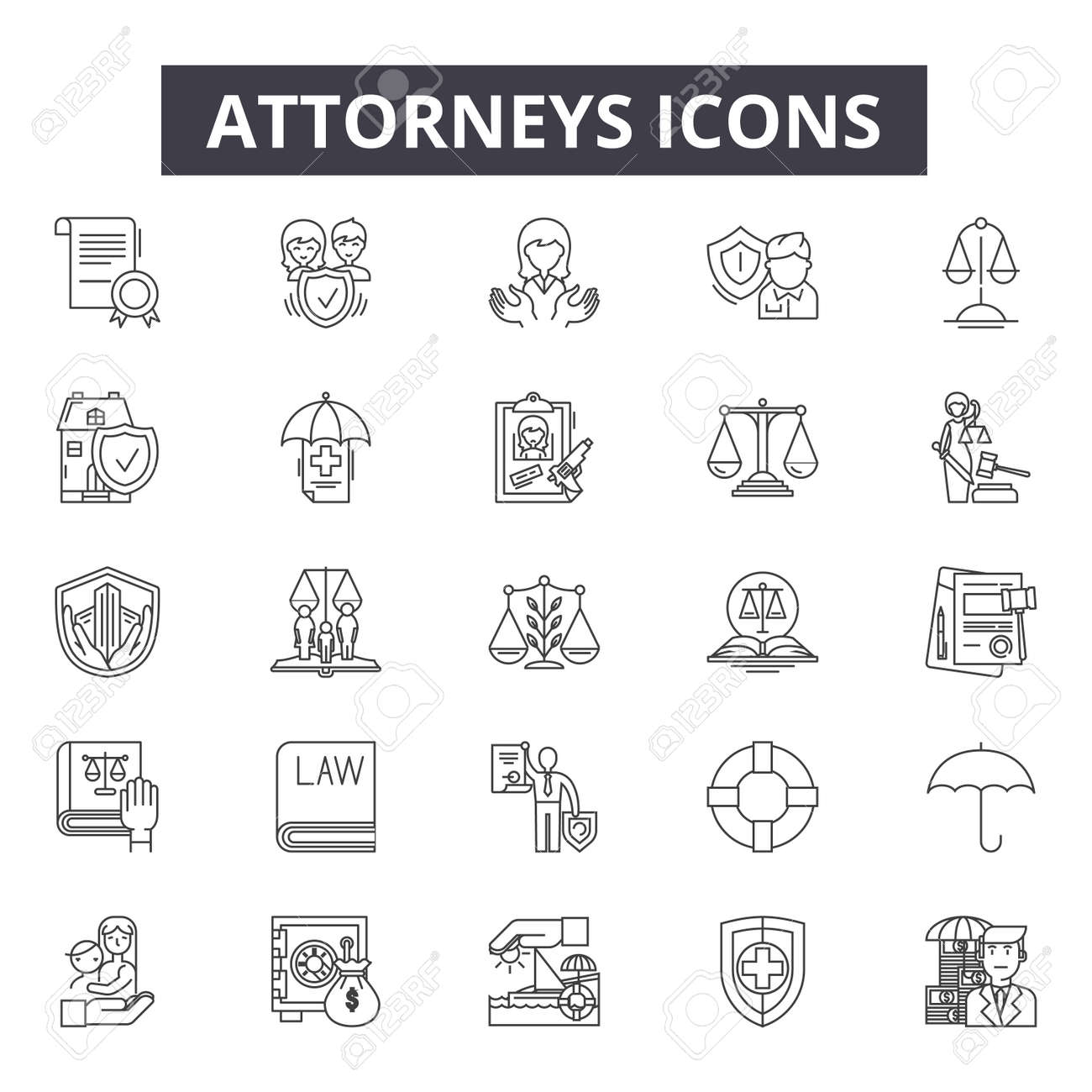 Attorneys line icons, signs set, vector. Attorneys outline concept illustration: law,attorney,court,lawyer,justice,judge,legal,crime - 120893863